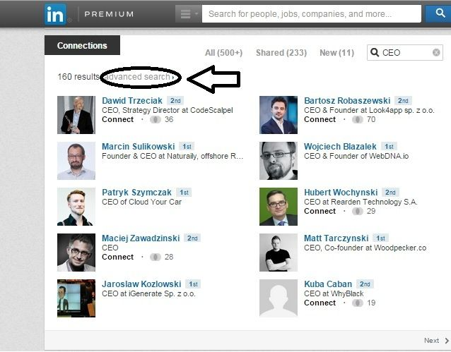additional option for search referrals on linkedin