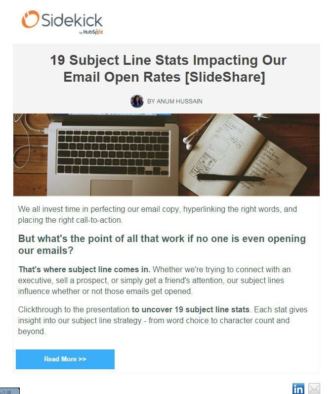 lead nurturing tactic newsletter from Sidekick