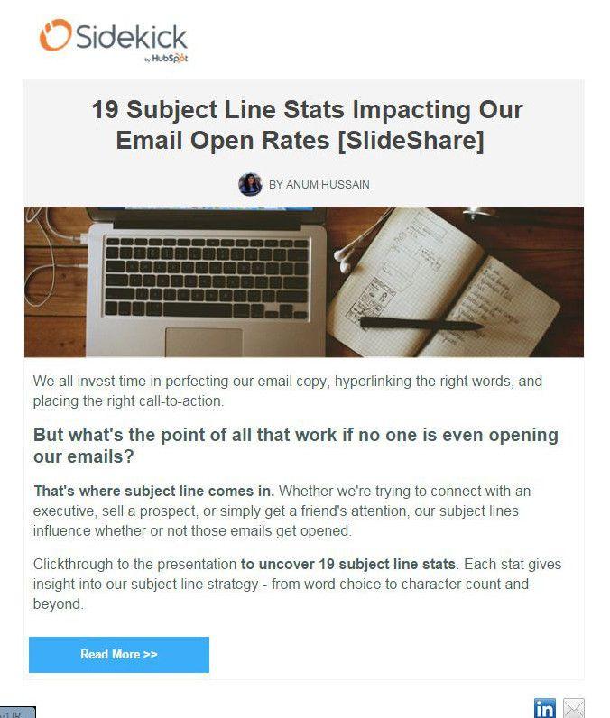 lead nurturing tactic newsletter from Sidekick
