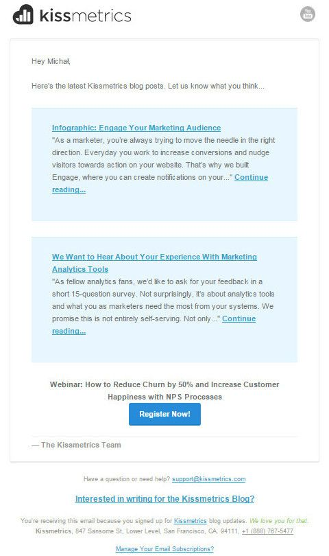b2b lead nurturing newsletter from Kissmetrics