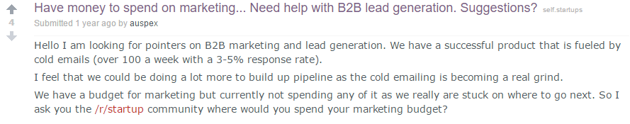 comment about marketing budget