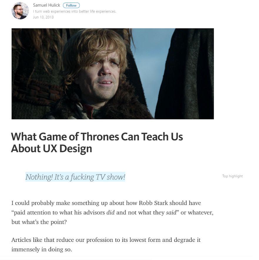 GoT about UX design