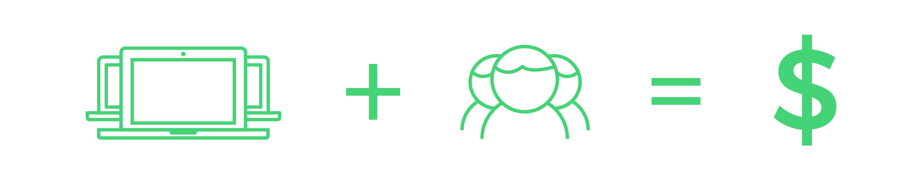 icon computer plus clients equal cash